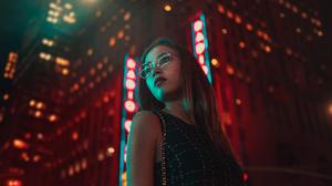 Street City Cityscape Urban Night Women Long Hair Portrait Photography People 5570x3134 Wallpaper