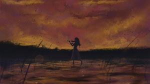 Kaori Miyazono Lake Sky Violin 3840x2650 Wallpaper