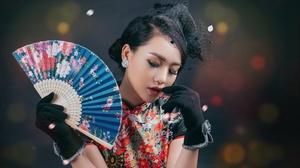 Asian Brunette Fan Girl Glove Lipstick Model Woman 4887x3154 Wallpaper