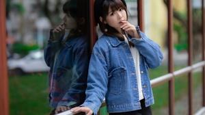Asian Model Women Brunette Long Hair Black Pants Jeans Jacket White Shirt Berets Leaning Window Earr 3840x2560 Wallpaper