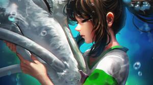 Anime Girls Studio Ghibli Liang Xing Liang Xing Spirited Away Underwater Brunette Dragon 1089x1500 Wallpaper