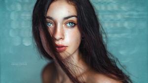 Women Model Brunette Long Hair Hair In Face Looking Away Closeup Face Parted Lips Bare Shoulders Por 4096x2734 Wallpaper