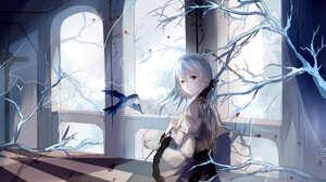 Bird Blue Hair Short Hair Sword 3507x2480 Wallpaper