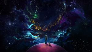 Sky Space Moon Galaxy Stars Moonlight Clouds Purple Sky Planet Dog 3840x2160 Wallpaper