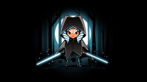 Star Wars Ahsoka Tano Artwork Lightsaber Cloaks Black Background Jedi Minimalism The Mandalorian 5120x2880 wallpaper