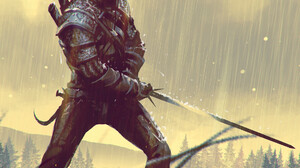 Omer Tunc Artwork Digital Art Digital Painting Geralt Of Rivia Fan Art Video Game Art Sword Video Ga 1920x2117 Wallpaper