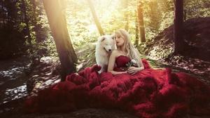Women Outdoors Model Women Outdoors Animals Dog Mammals Makeup Blonde Dress Red Dress Long Hair Red  2048x1152 Wallpaper