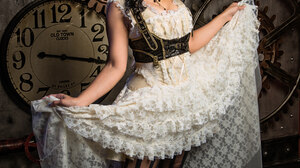 Women Model Brunette Long Hair Steampunk Steampunk Girl Portrait Display Clocks Clockwork White Dres 3840x5760 Wallpaper