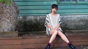 Asian Model Women Long Hair Dark Hair Sitting Short Socks Shirt Trees House Window Ponytail Bushes B 1920x1280 Wallpaper