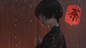Girl Rain 3485x1882 Wallpaper