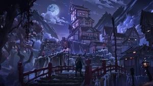 Artwork Fantasy Art Night Moon Bridge Town Sekiro Shadows Die Twice 3840x2400 Wallpaper