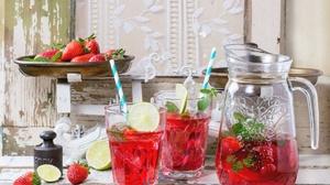 Drink Glass Lemonade Pitcher Strawberry 1999x1333 Wallpaper