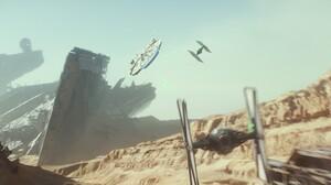Millennium Falcon Star Wars Star Wars Episode Vii The Force Awakens Tie Fighter 2048x858 Wallpaper