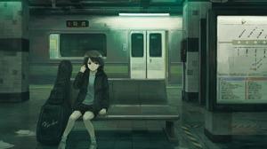 Anime Girls Original Characters Metro Musical Instrument Train Short Hair Kensight328 1440x1029 Wallpaper