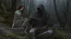 Artem Demura Dark Digital Art Fantasy Art Hood Sword Creature Forest Trees Redhead 1920x852 Wallpaper