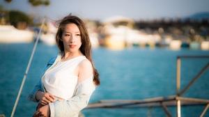 Women Model Asian White Tops Jeans Jacket Looking Away Brunette Women Outdoors Depth Of Field 2500x1667 Wallpaper