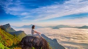 Landscape Women Alone Clouds Sunlight Mountains Nature Thailand Sky Skyline Rock Sitting 5472x3648 Wallpaper