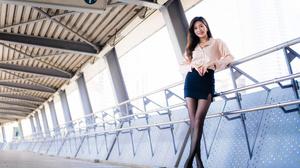 Asian Model Women Long Hair Dark Hair Blouse Black Skirts Nylons Black Heels Leaning Railings Passag 3840x2560 Wallpaper