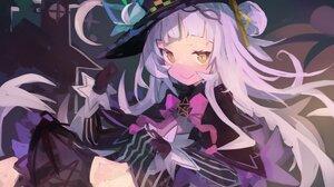 Anime Anime Girls Purple Background Murasaki Shion Hololive White Hair White Skin Smiling Yellow Eye 4096x2712 Wallpaper
