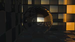 Cube 3d Digital Art Reflection Sphere 3920x2080 wallpaper