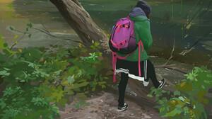 Digital Art Environment Forest Women Backpacks Trees River Bushes 2354x3316 Wallpaper