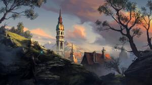 Artwork Digital Art Landscape Philipp A Ulrich Wizard Trees Old Building Clouds 3000x1500 Wallpaper