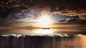Sky Sunset Sunbean Boat Man 1920x1080 wallpaper
