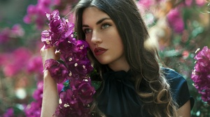 Brunette Girl Lipstick Purple Flower Woman 2048x1367 Wallpaper