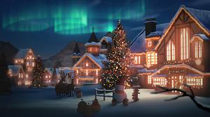 Aurora Borealis House Snow Snowman Winter 2048x1152 Wallpaper