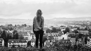 Monochrome City Cityscape Urban Building Sky Women Women Outdoors Rona Keller Landscape Hill Grass D 1920x1080 Wallpaper