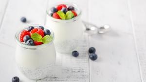 Berry Dessert Fruit Still Life Yogurt 4928x3264 Wallpaper