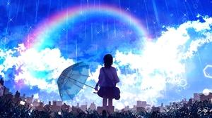 Girl Rain Rainbow Schoolgirl Sky 1920x1080 Wallpaper