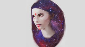 Face Illustration Stars Woman 4096x2160 Wallpaper