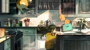 Dog Toast Wind Bread Kitchen Toaster Anime Brunette 1502x2048 Wallpaper