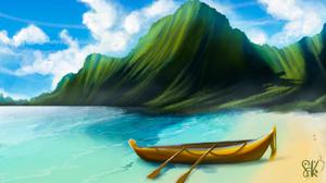 Island Beach Boat Ocean View 7632x4293 wallpaper