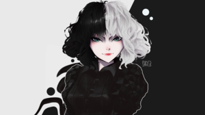 Cruella Disney Disney Pixar Anime Girls Black White Digital Art Fantasy Girl Green Eyes White Hair B 4691x2866 Wallpaper