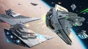 Imperial Forces Science Fiction Star Wars Ships Star Destroyer Star Wars Vehicle Darren Tan Artwork 1800x900 wallpaper