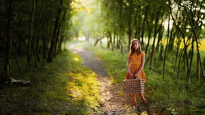 Brunette Child Depth Of Field Girl Orange Dress Path Sunny 1988x1305 Wallpaper
