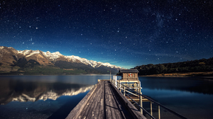Mountains Water Night Nature Horizon Snowy Peak Trees Forest Hills Pier Wood Wooden Surface House Mi 3840x2160 Wallpaper