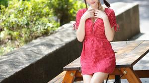 Asian Model Women Sitting Leaning Polka Dots Red Dress Braids Ponytail Bushes Depth Of Field Barefoo 1920x2880 Wallpaper