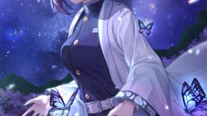 Kimetsu No Yaiba Kochou Shinobu Butterfly Purple Hair Purple Eyes Flowers Japanese Kimono Stars Glow 2000x3000 Wallpaper