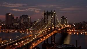 City USA New York City Bridge Night Manhattan Bridge 1920x1080 Wallpaper