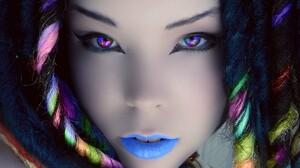 Women Face Dyed Hair Colorful Closeup Digital Art Eyes Dreadlocks Cyan 1920x1080 Wallpaper