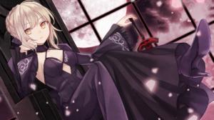 Black Dress Collar Dress Girl High Heels Saber Alter Sitting 2000x1166 Wallpaper