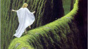 Artwork Painting Fantasy Art Grass Mountains White Dress Cloaks Surreal Flowers Green 1267x1700 Wallpaper