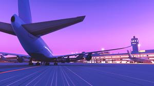 Artwork Digital Art Purple Airplane Pink Airport 3440x1440 wallpaper