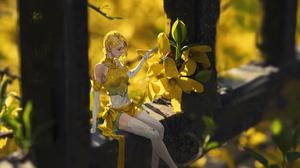 Girl Blonde Short Hair Yellow Flower 3840x2119 wallpaper