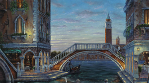 Artistic Boat Bridge Building Canal Painting Venice 1920x1446 Wallpaper