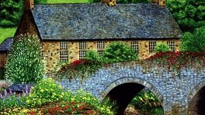 Artistic Bridge Flower House Painting Stone Tree 1920x1508 Wallpaper