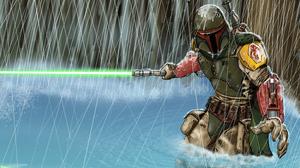 Star Wars Boba Fett Lightsaber Bounty Hunter 4374x3276 Wallpaper